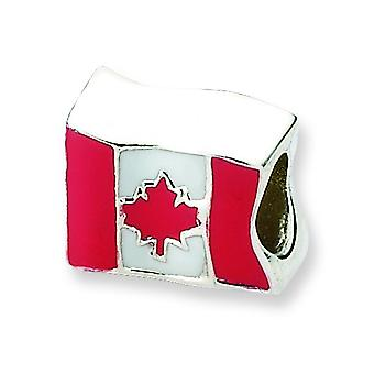 Sterling Silver Reflections Canada Flag Bead Charm