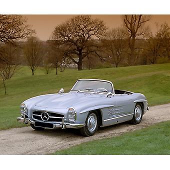 1957 Mercedes Benz 300SL 30 liter roadster hjemlandet Tyskland plakatutskrift