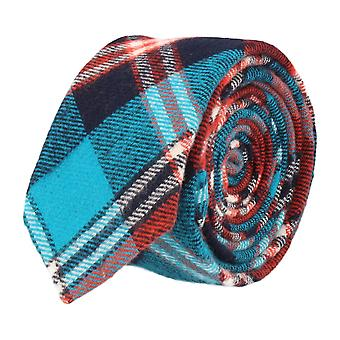Andrews & co. narrow tie Club tie Tartan turquoise Navy Orange