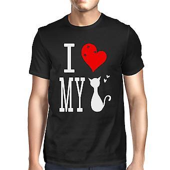 Lindo declaración gráfica camiseta hombres - amo mi gato negro t gráfica