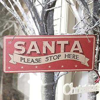 East of India Santa Please Stop Here Vintage Hanging Christmas Sign