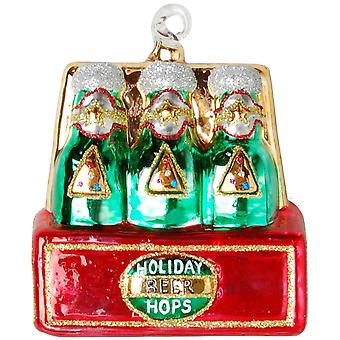 6 Pack of Beer Hops Man Cave Favorite Glass Holiday Ornament