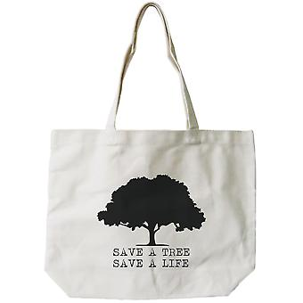 Save A Tree Save A Life Canvas Bag Cute Earth day Tote for Grocery or School