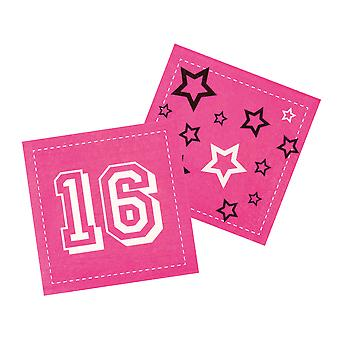 12 Pack Of Sweet 16 Pink 16th Birthday Party Tableware Napkins