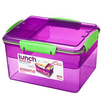Sistema 2.3L Lunch Tub with Removable Multi Compartment Tray, Purple
