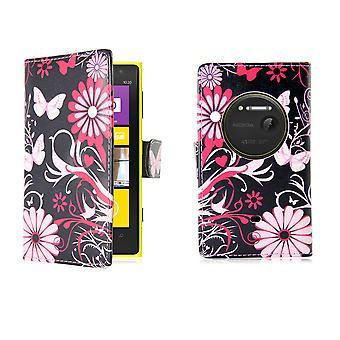 Design Buch PU Leder Case Cover für Nokia Lumia 1020 - Gerbera