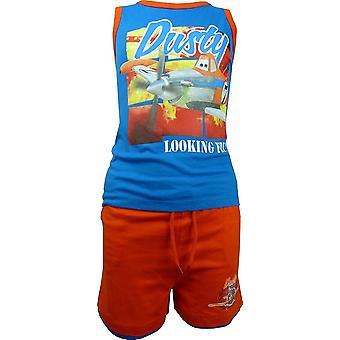 男の子ディズニー ピクサー飛行機埃っぽいノースリーブ T ShirtVest トップ ・ ショーツ セット OE1061