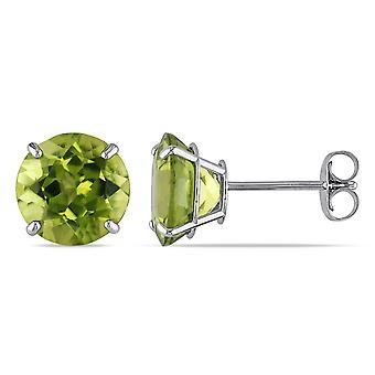 Green Peridot 4.0 Carat (ctw) Solitaire Earrings in 14K White Gold