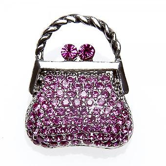 Camille Womens Fashion Jewellery Silver Tone Pink Diamante Handbag Brooch Pin