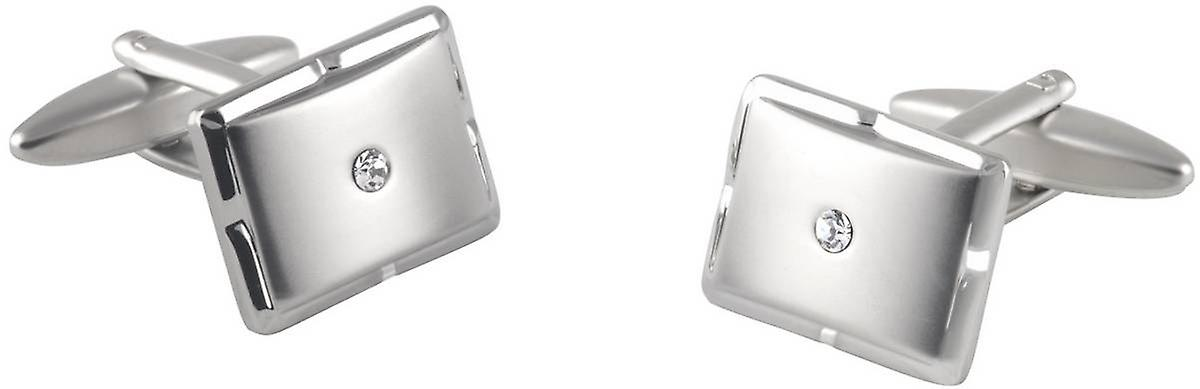 David Van Hagen Rectangle Crystal Cufflinks - Silver/Clear