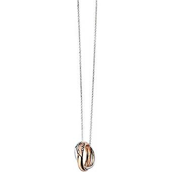 Elements Silver Double Ring Love Cubic Zirconia Pendant  - Silver/Rose Gold