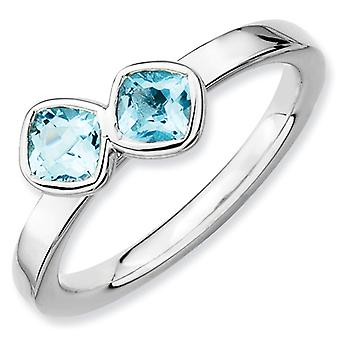 Sterling Silver Stackable Expressions Db Cushion Cut Blue Topaz Ring - Ring Size: 5 to 10