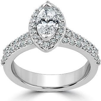 1 1 / 2ct Marquesa Halo compromiso anillo de boda conjunto de oro blanco mejorado