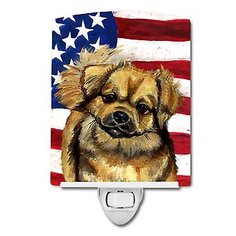 USA American Flag with Tibetan Spaniel Ceramic Night Light