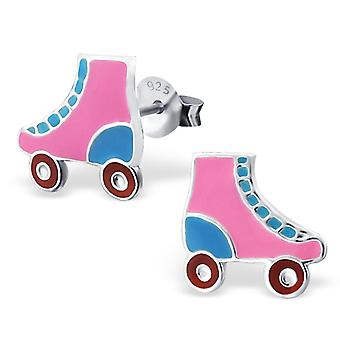 Roller Skate - 925 Sterling Silver Colourful Ear Studs - W18657x
