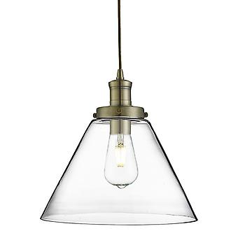 Pyramid Antique Brass Pendant With Clear Glass Shade - Searchlight 3228ab