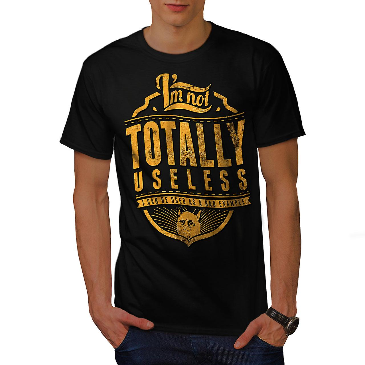 Not Useless Cat Slogan Men Black T-shirt | Wellcoda
