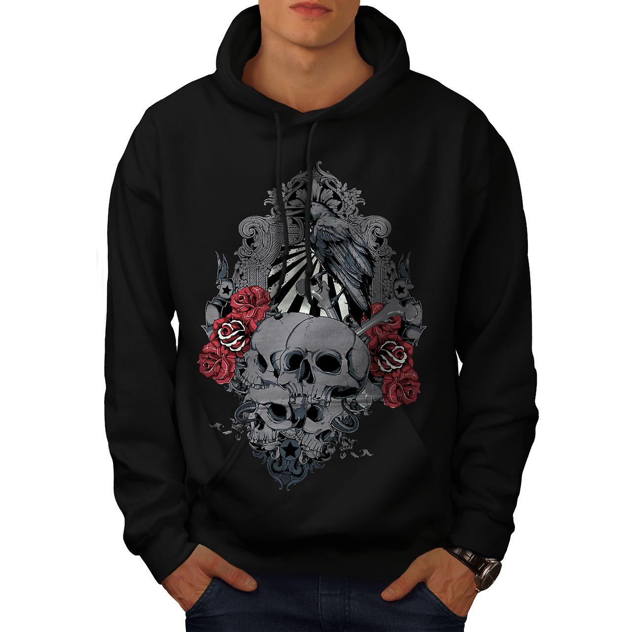 Rose Crow Creepy Skull Men Black Hoodie | Wellcoda