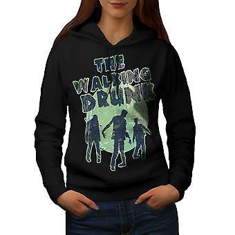 Walking Drunk Party Women BlackHoodie | Wellcoda