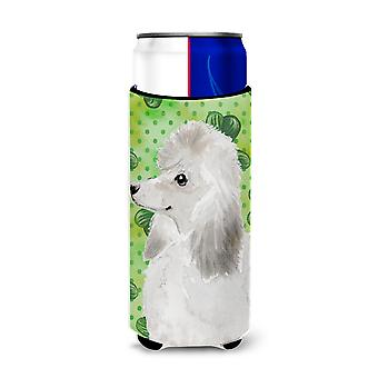 White Standard Poodle St. Patrick's Michelob Ultra Hugger for slim cans