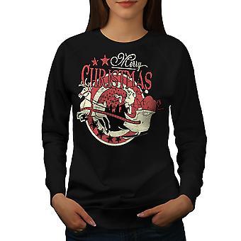 Vintage Santa vrouwen BlackSweatshirt | Wellcoda