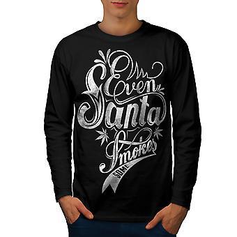 Zelfs Santa rookt T-shirt van de koker van de BlackLong van de Rasta mannen | Wellcoda