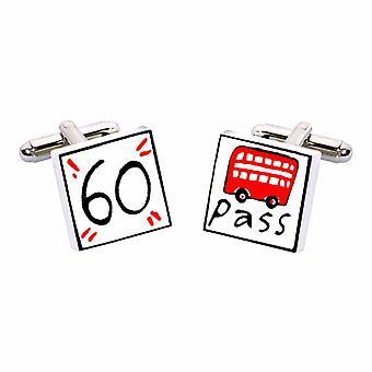 60 Buspass Manschettenknöpfe von Sonia Spencer in Präsentation Geschenkbox. Rente, Rentner