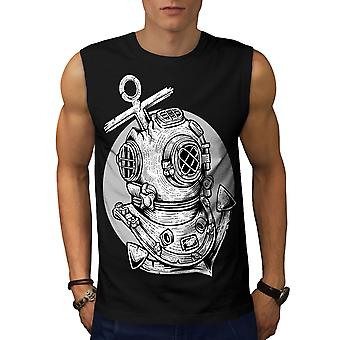 Deep Sea Anchor Fashion Men BlackSleeveless T-shirt | Wellcoda