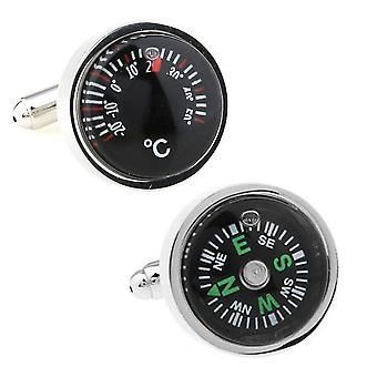 Working Compass And Temperature Gauge Cufflinks Novelty Hiking Naval Wedding