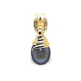 Perła wisiorek kultury wody miękkie czarne, diamenty i żółte złoto 750/1000