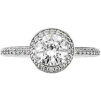1ct Pave Halo Diamond Engagement Ring 14K White Gold