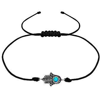 HAMSA - 925 Sterling Zilver + Nylon koord snoer armbanden - W34025X