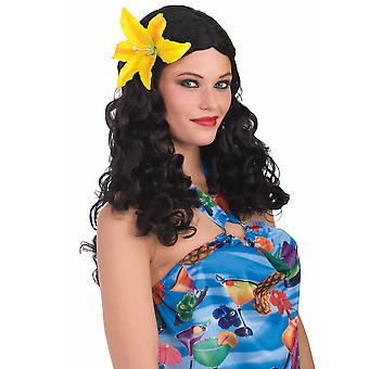 Honolulu Honey Black Hawaiian Hula Luau Curly Women Costume Wig