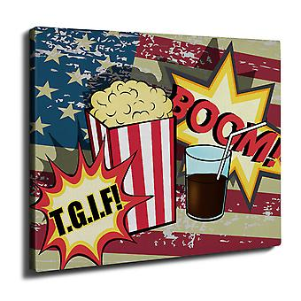 Popcorn and Coke Wall Art Canvas 50cm x 30cm | Wellcoda