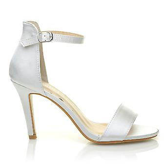 PAM White Satin Ankle Strap Barely There Bridal High Heel Sandals