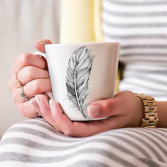 Elegante veer nieuwe witte thee koffie keramische Latte Mok 17 oz | Wellcoda