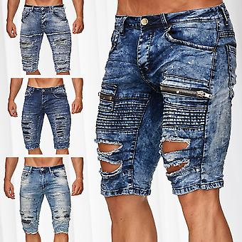 Men's Bermuda Shorts Stretch Jeans Biker Pants Used Destroyed Capri Denim Pants