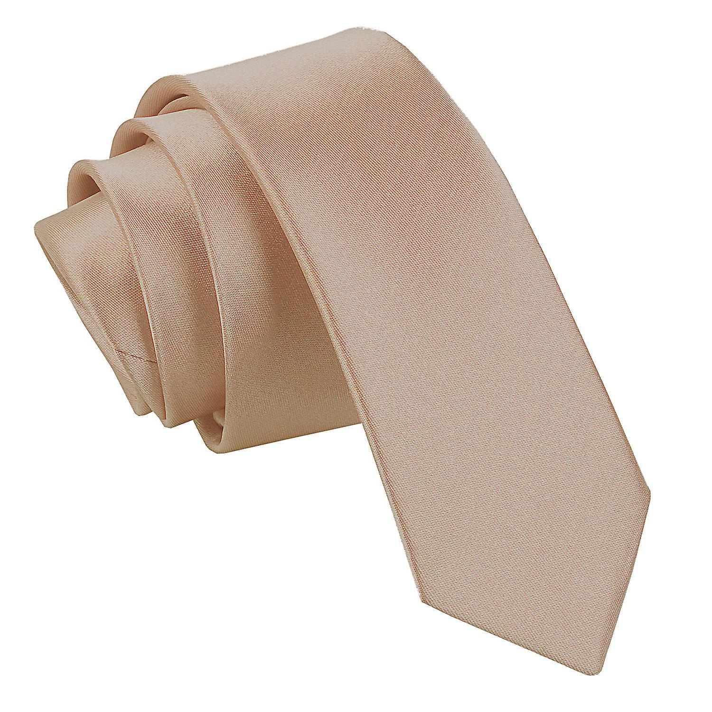 Mocha Brown Plain Satin Skinny Tie