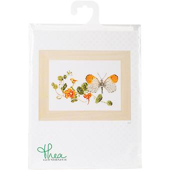 Butterfly & Nasturtium On Aida Counted Cross Stitch Kit-11.5