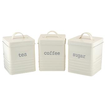 Apollo Set of 3 Square Ribbed Canisters, Cream