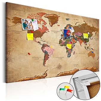 Billede på cork - verdenskort: Brown Elegance [Cork kort]