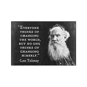 Tolstoi '' denkt jeder...'' Kühlschrank-Magnet