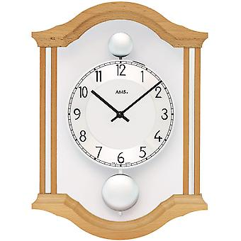 Wall clock quartz analog swing double pendulum wooden beech solid with glass 34 x 26 cm