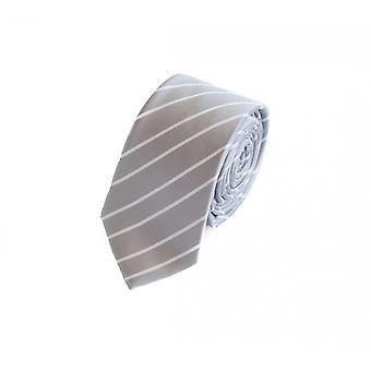 Schlips Krawatte Krawatten Binder 6cm silber weiß gestreift Fabio Farini