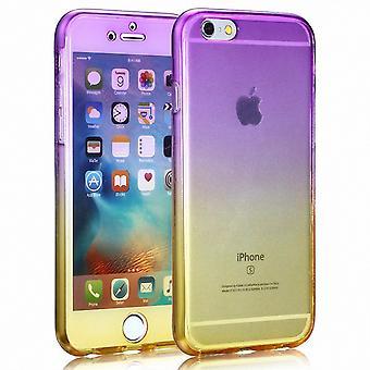 Crystal Case Hülle für Apple iPhone 7 Plus Lila Gelb Rahmen Full Body
