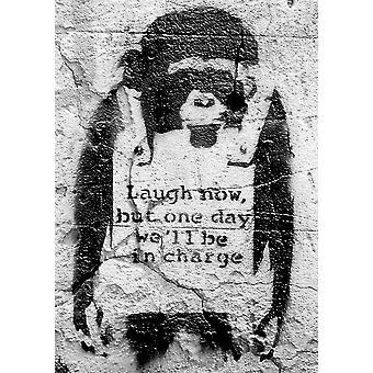 Scimmia di Banksy poster ridere ora, ma un giorno saremo alle dimensioni del batch