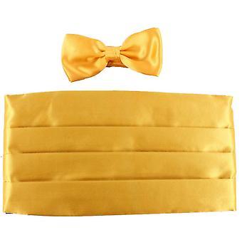 Knightsbridge Neckwear Bow Tie and Cummerbund Set - Yellow