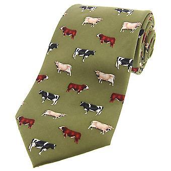 David Van Hagen mucca razze cravatta di seta del paese - paese verde