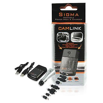 Camlink Sigma Draagbare Power Pack / Oplader Auto + Computer Charger Kit