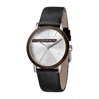 ESPRIT Mens Watch Watches Analogue Plywood Silver Black Quartz